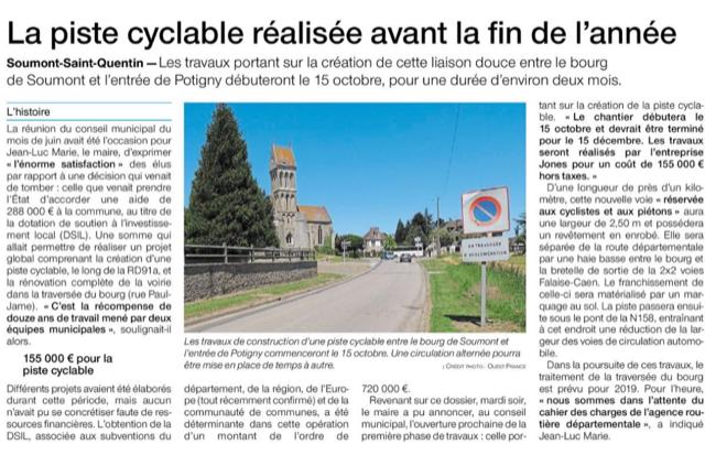 OF Soumont-St-Quentin à Potigny, voie douce