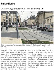 Le tramway percute un cycliste en centre-ville